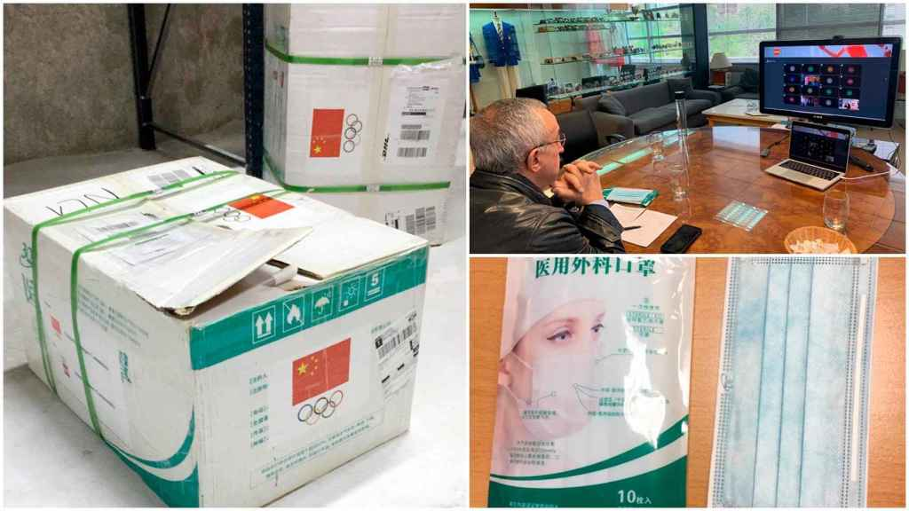 Alejandro Blanco y las mascarillas donadas por el Comité Olímpico Chino