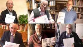 Los ministros de Suárez, de izda a dcha, y de arriba abajo: Marcelino Oreja, Martín Villa, Martínez Genique, Otero Novas, Sánchez de León y Clavero Arévalo.