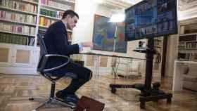 El presidente del Gobierno, Pedro Sánchez, durante la última videocumbre de la UE