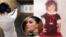 Macarena Olona (Vox) a la izquierda, en una galería de tiro; a la derecha, vestida de niña con un traje tradicional asturiano.