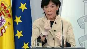 Isabel Celaá, ministra de Educación y Formación Profesional, en rueda de prensa en Moncloa.