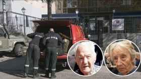 Dos de los ancianos fallecidos y la UME llevándose cadáveres de la residencia.