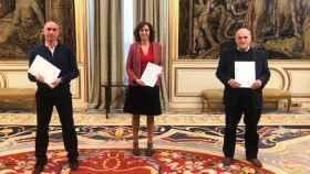 Luis Rubiales, Irene Lozano y Javier Tebas, durante la reunión de este sábado