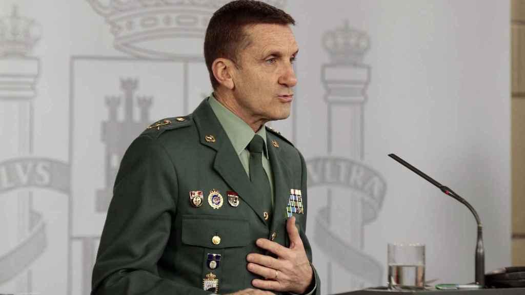 El general de la Guardia Civil José Manuel Santiago Marín, durante una rueda de prensa del comité técnico de gestión de la pandemia.