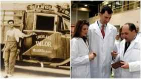 A la izquierda, la primera camioneta de Valor. A la derecha, los entonces príncipes de Asturias visitan la fábrica chocolatera, en 2006.