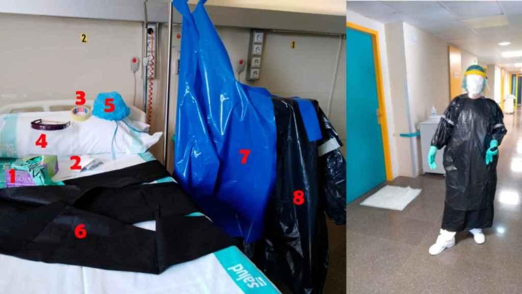 Los equipos de pseudoprotección con los que se trabaja en el Hospital Ernest Lluch (Calatayud).