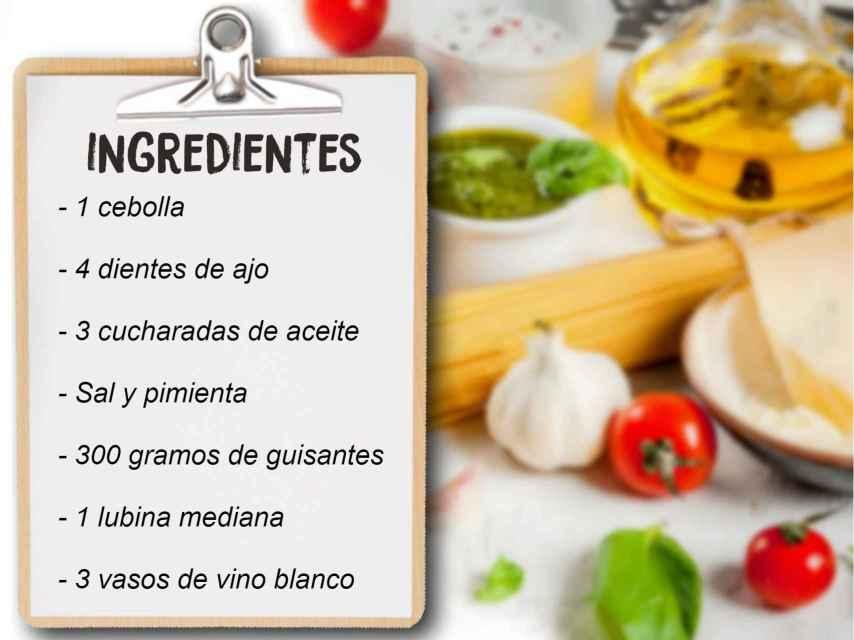 Montaje con los ingredientes necesarios para preparar la lubina al horno.