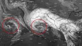 Las dos borrascas, una al oeste y otra al este de España. Severe-weather.eu.