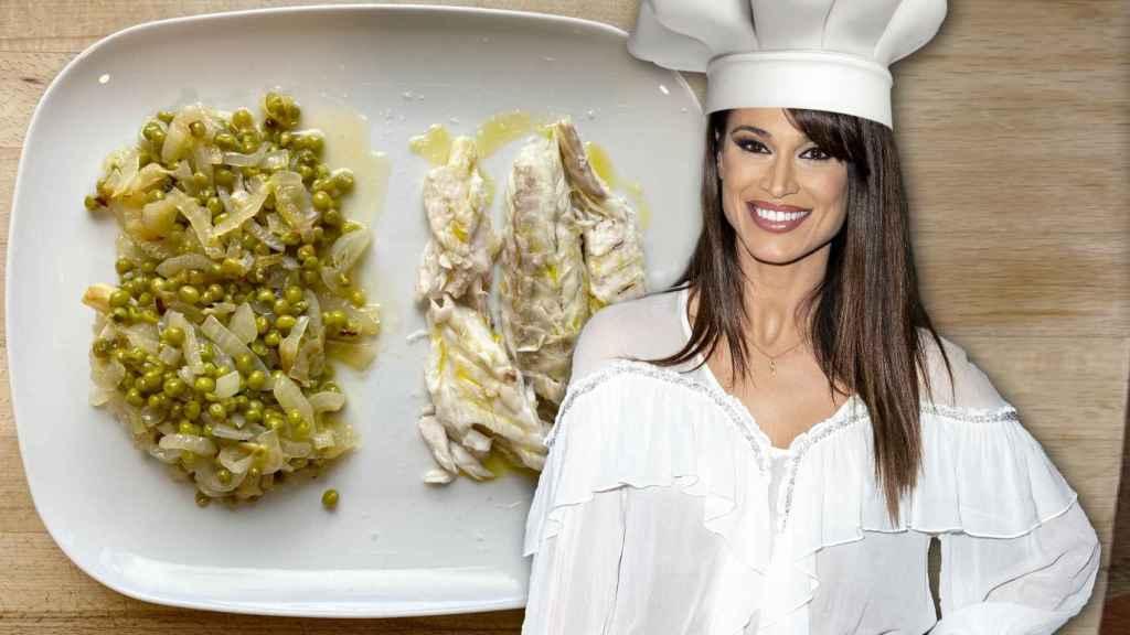 Sonia Ferrer en un montaje de JALEOS con la lubina al horno de fondo.