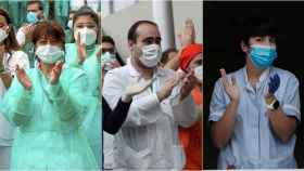 Sanitarios durante el aplauso diario de las 20.00.