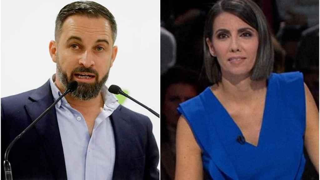 El líder de Vox, Santiago Abascal, y la fundadora de Newtral, Ana Pastor.