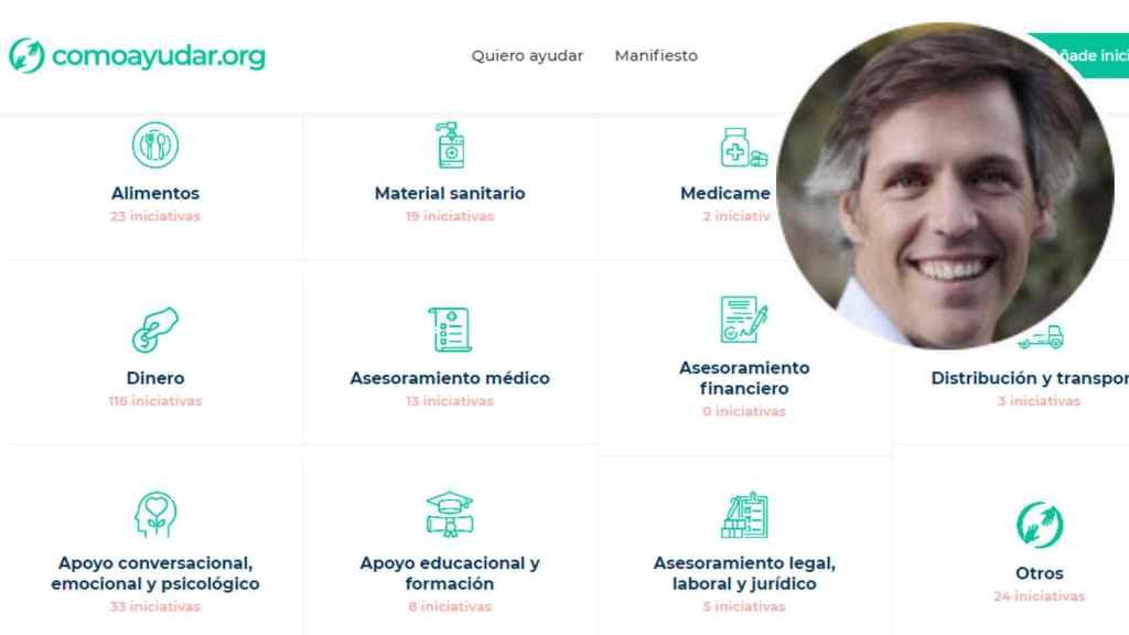 Las web de comoayudar.org y uno de sus creadores, Ignacio Jaureguizar.