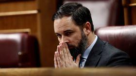Santiago Abascal (Vox), durante el pleno para la tercera prórroga del estado de alarma.