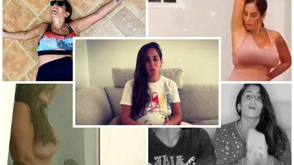 Anabel Pantoja durante cinco momentos de su confinamiento en casa vía Instagram.