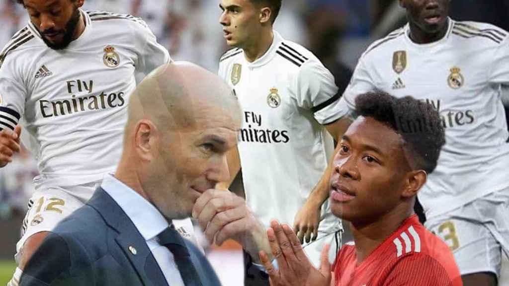 Marcelo, Sergio Reguilón, Ferland Mendy, Zinedine Zidane y David Alaba