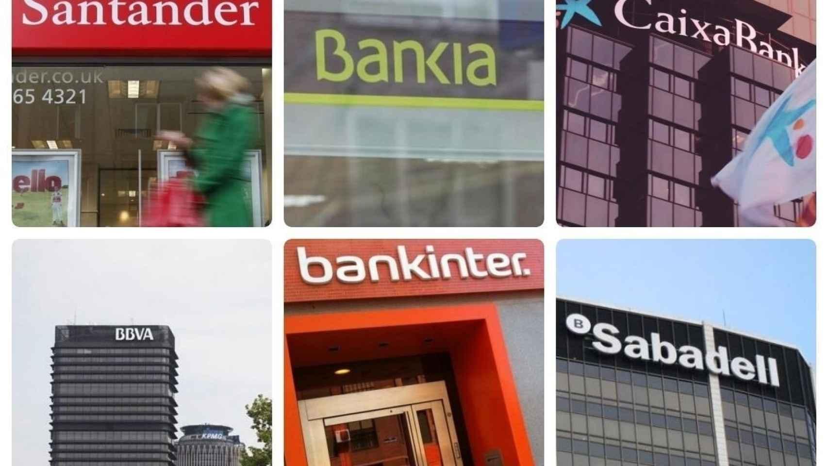 Montaje de los logos de los seis bancos cotizados en España.