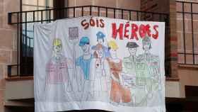 Pancarta de apoyo a los sanitarios en Ronda (Málaga).