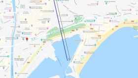 Distancia calculada con Google Maps.