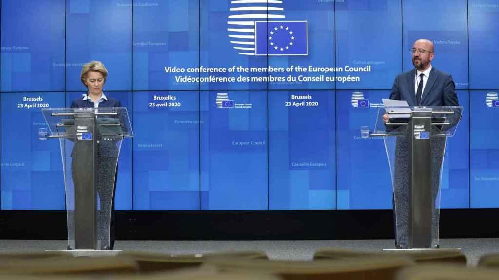 Charles Michel y Ursula von der Leyen, durante la rueda de prensa de este jueves