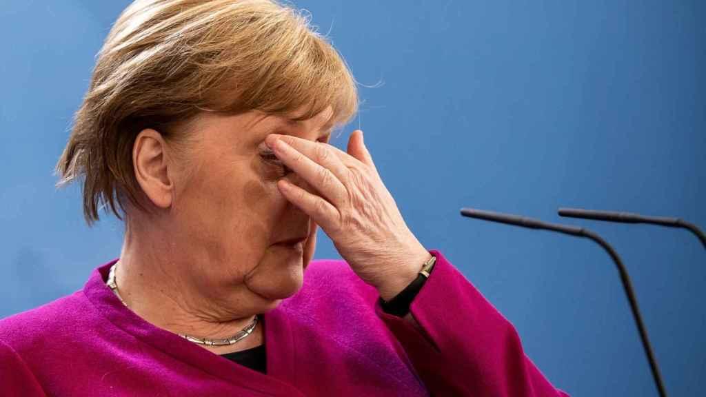La canciller alemana, Angela Merkel, tras la videocumbre de este jueves