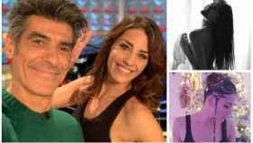 Laura Moure junto a Jorge Fernández y dos imágenes de sus redes sociales en montaje JALEOS.