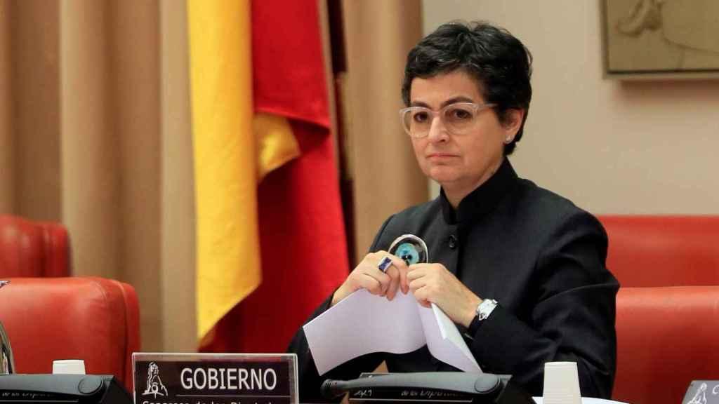 La ministra de Asuntos Exteriores, Arancha González Laya, este jueves en la comisión de Exteriores del Congreso.