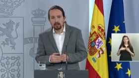 El vicepresidente segundo del Gobierno, Pablo Iglesias, en la rueda de prensa de este jueves.