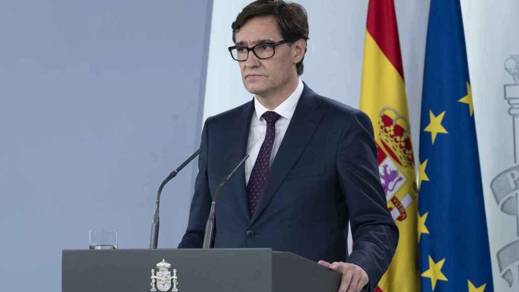 Salvador Illa, en su última comparecencia en Moncloa.