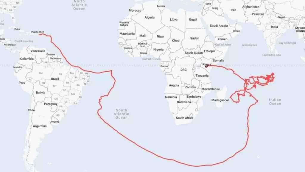 Esta es la ruta que toman los globos para llegar a Kenia.