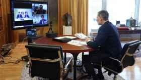 El rey Felipe VI en la videoconferencia con los representantes del sector ovino y caprino
