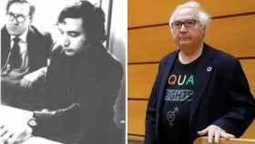 Manuel Castells. A la izquierda, en una imagen de archivo personajes célebres de Hellín. A la derecha, en el Senado.