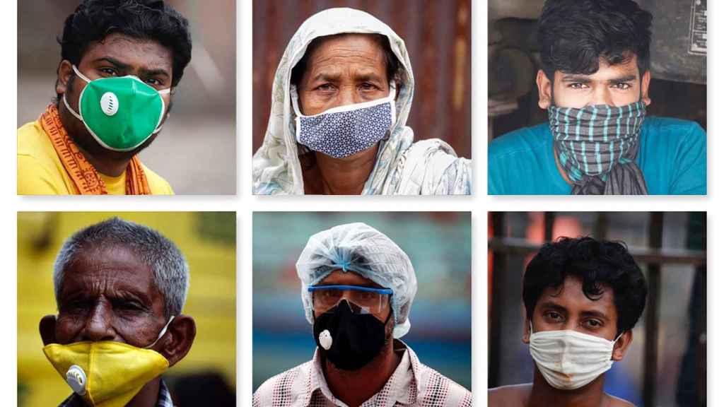 Retratos de ciudadanos de Bangladés con mascarillas para prevenir la pandemia