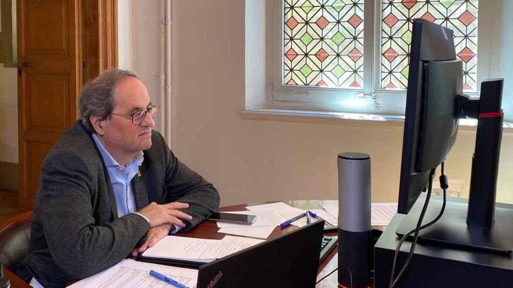Quim Torra, en la reunión telemática de su Consejo de Gobierno para aprobar el plan de desconfinamiento de Cataluña.