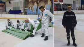 Soldados de la UME recogiendo el césped artificial del Palacio de Hielo. A la derecha, el comandante.