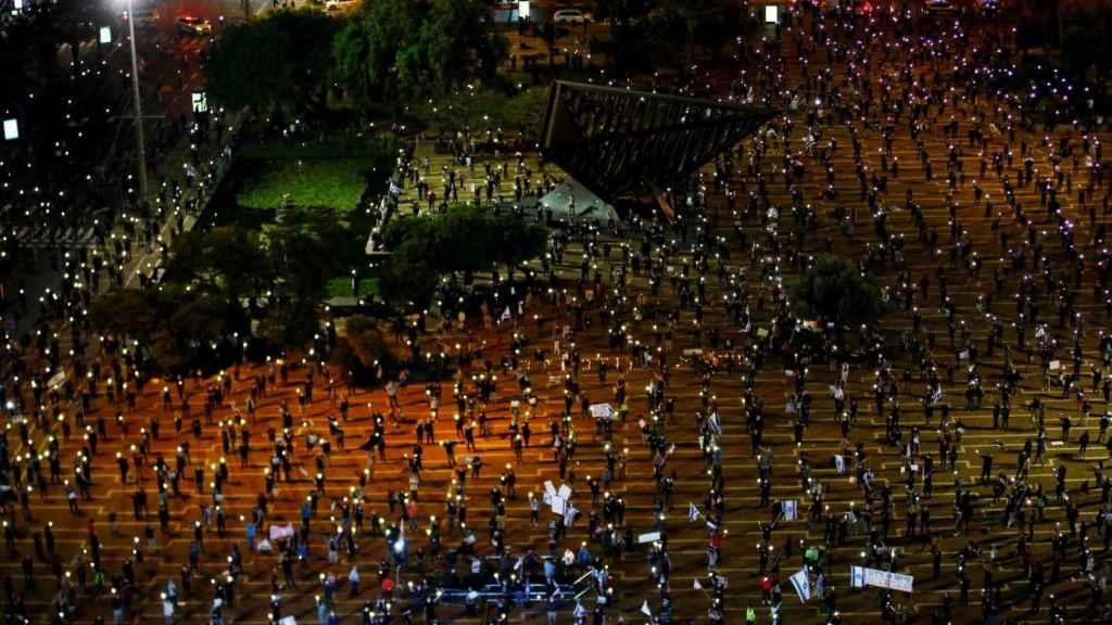 Manifestación contra Netanyahu, el pasado 19 de abril en la plaza Isaac Rabin de Tel Aviv.