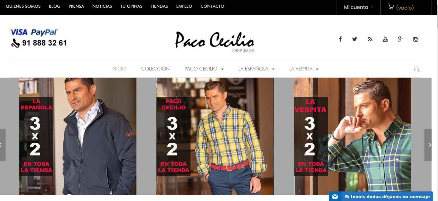 Inicio de la página web de Paco Cecilio, con rotunda presencia de Alfonso Merlos.