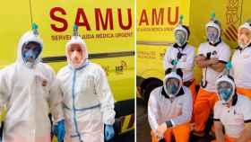 Los equipos de profesionales sanitarios Alfa 3 y Alfa 7 Valencia con las máscaras al inicio del turno de trabajo.