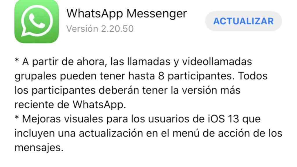 Actualización de WhatsApp con el aumento del límite en videollamadas