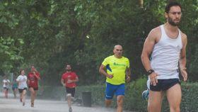 Running en el parque del Retiro.