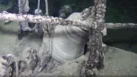 La campana del buque, hallada en el fondo del Mar Negro.