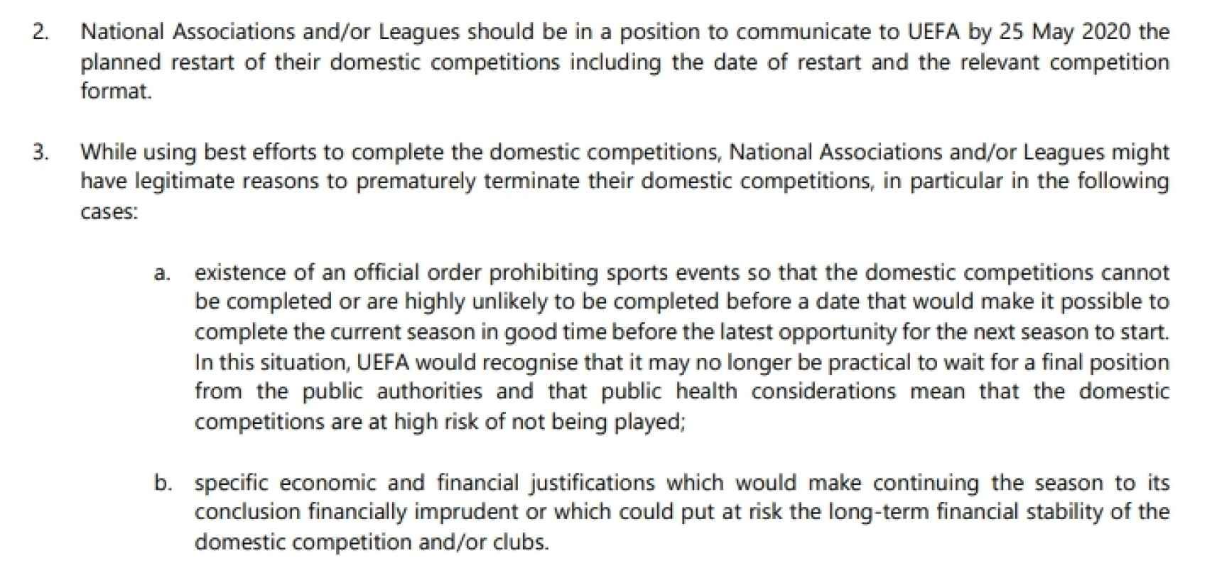 Los criterios de UEFA para admitir la cancelación de una competición de esta temporada
