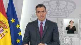 Pedro Sánchez explica en la Moncloa el plan de desescalada contra el coronavirus.