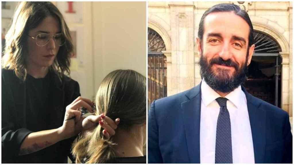 A la izquierda, Natalia, una peluquera de una gran cadena de peluquerías. A la derecha, Alejandro Fernández, presidente de Marco Aldany.