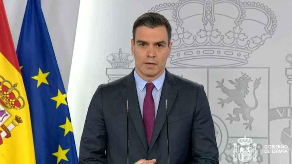 Pedro Sánchez, en rueda de prensa en Moncloa.