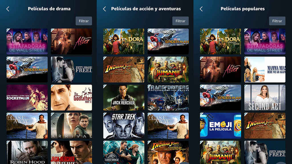 Amazon Prime Video dividida en categorías.