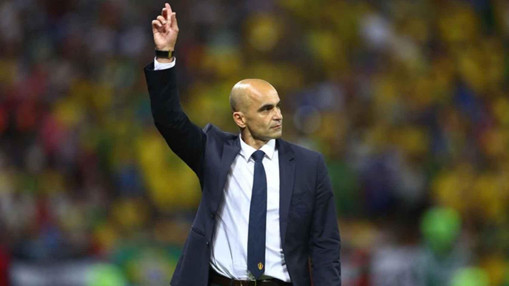 Roberto Martínez, durante un partido con la selección de Bélgica