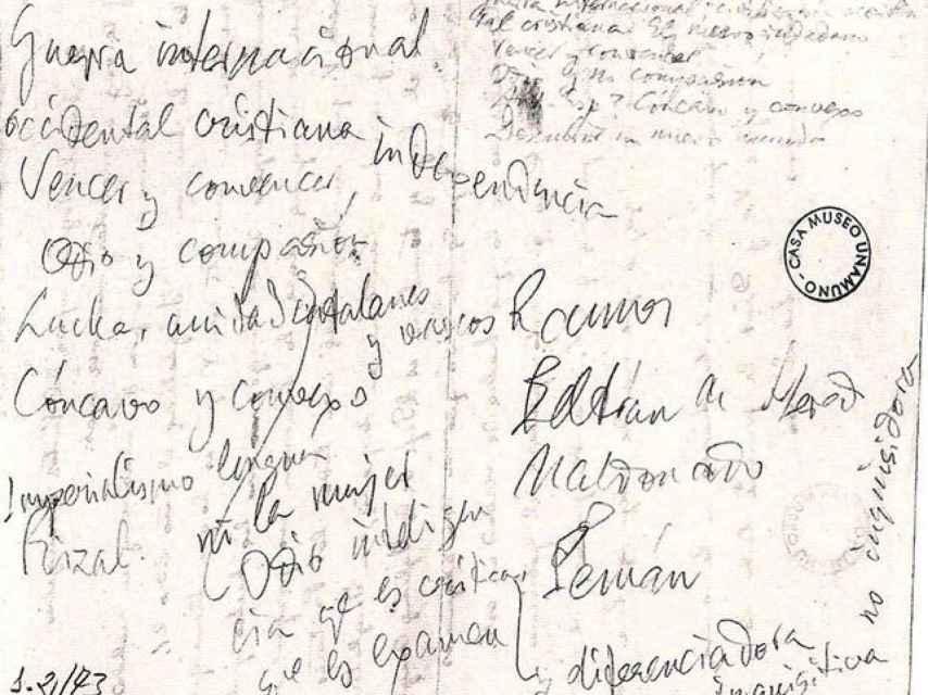 El revés de la carta de Enriqueta a Unamuno. Casa Museo Unamuno.