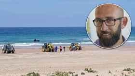 Fotografía del pasado domingo 26 de abril  los tractores usados en la playa de Zahara de los Atunes (Cádiz).