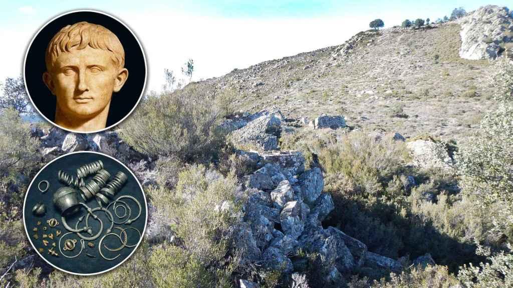 Estatua de Augusto, imagen del tesoro de Arrabalde y la vista vista desde el 'castellum' de la muralla del castro en la zona de El Marrón