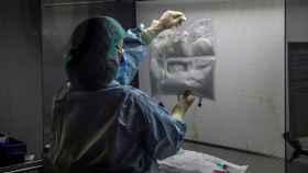 Personal sanitario en la farmacia del Hospital Universitario Puerta de Hierro de MajadahondaEFE//
